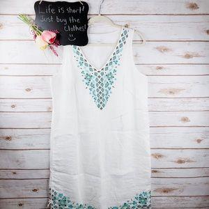 J. Jill Love Linen floral embroidered shift dress